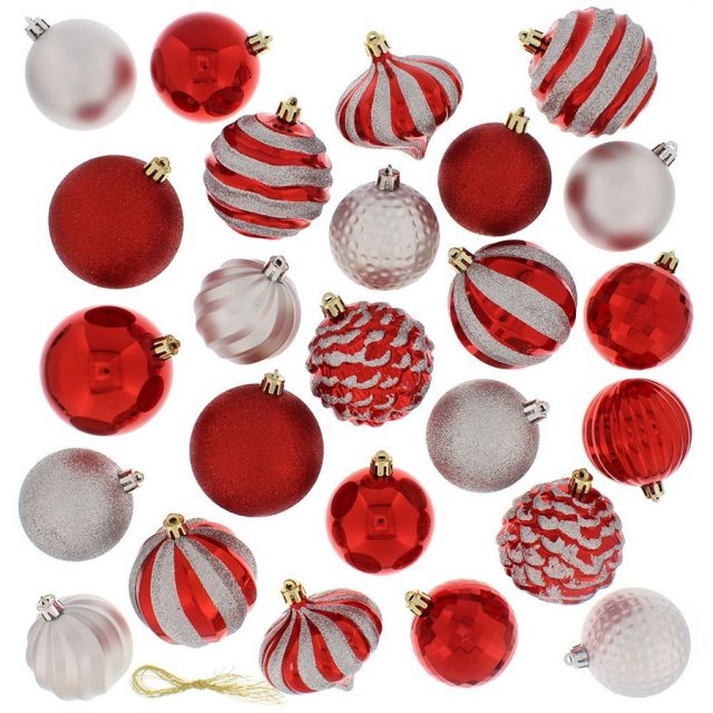 Festive 60-Pack Assorted Christmas Ball Ornaments