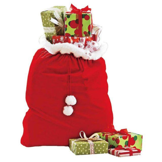 HearthSong Velvet Drawstring Santa Bag