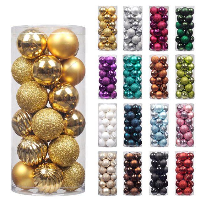 KI Store 34-Pack Color Christmas Ball Ornaments
