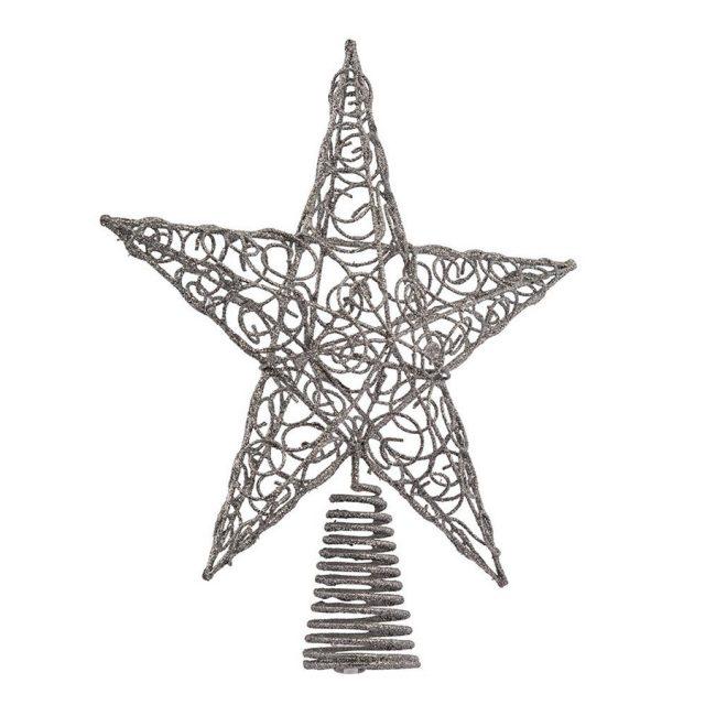 Kurt Adler Silver Star Christmas Tree Topper
