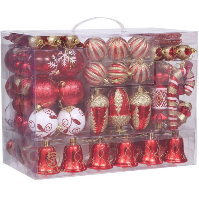 Sea Team 155-Pack Shatterproof Christmas Ball Ornaments