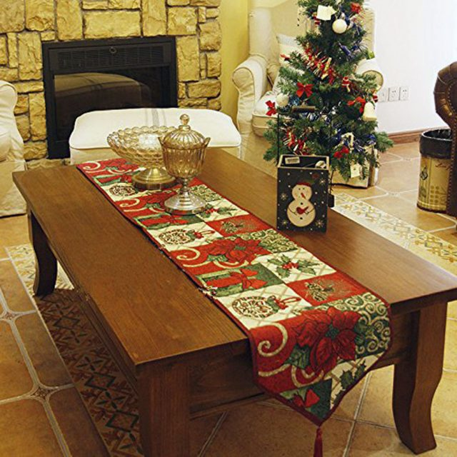 Sricam Decorative Flower Cotton Soft Christmas Table Runner