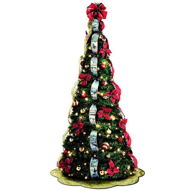 Thomas Kinkade Pre-Lit Pull-Up Winter Xmas Tree